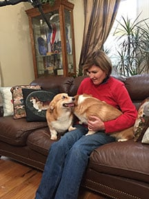 Photo courtesy of MotionMasters. Carrie Chase of Martinsburg breeds Pembroke Welsh corgis and is one of three West Virginia residents on the show.