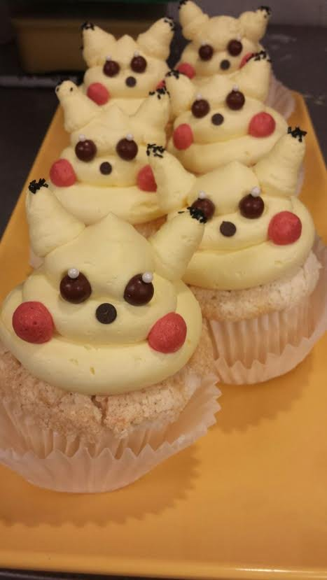 The cafe also made Pikachu cupcakes.