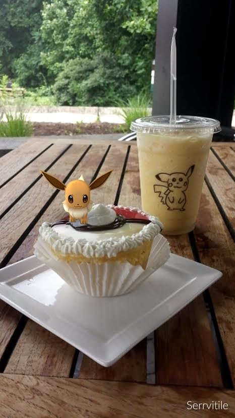"Terra Cafe in Star City, WV made Pokémon themed pastries for their customers. An ""Eevee"" sits on top of a Poke ball cupcake paired with a Pikachu smoothie. Photo Courtesy of Terra Cafe"