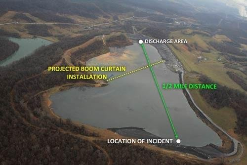 "This DEP photo shows the curve of the collapsed section at the bottom, the expected location of the bulldozer (""incident""), and the curtain that will isolate mine operations from recovery."