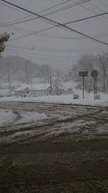 Roads in Charleston, Huntington and other cities were covered in snow the morning of Oct. 30, making morning commutes dangerous.