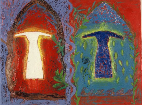 "Courtesy of www.barriekaufman.com. Barrie Kaufman's painting, ""Two Dresses."""