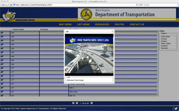 This screen shot from the 511 website shows real-time traffic at the Oakwood Road exit of Interstate 64.