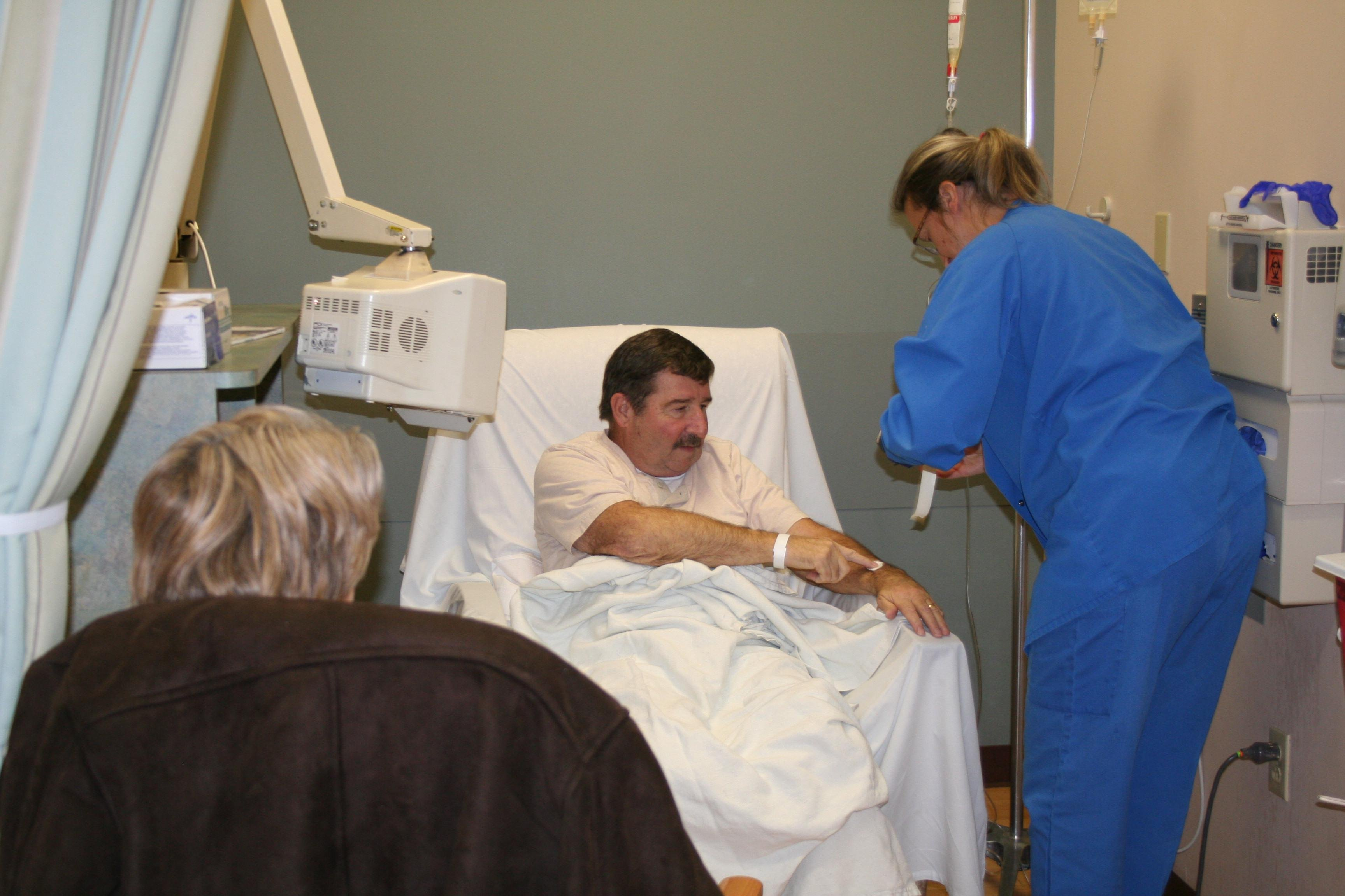 Photo courtesy of CAMC. Hurricane resident Steve Sovine receives treatment at the David Lee Cancer Center.