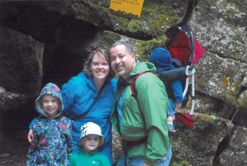 De Jesus and wife Melanie hiking at Scenic Caves Nature Adventures in Thornbury, Ontario, several years ago with children Camden, left, Brevin and Brycen, in the carrier.