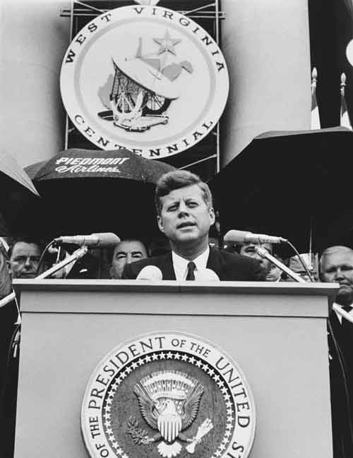 Photos courtesy of W.Va. Division of Culture & History. President John F. Kennedy gives a speech as part of the Centennial celebration June 20, 1963.