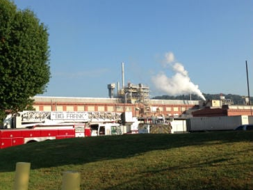 Emergency crews on the scene of a chemical emergency in South Charleston, WV.