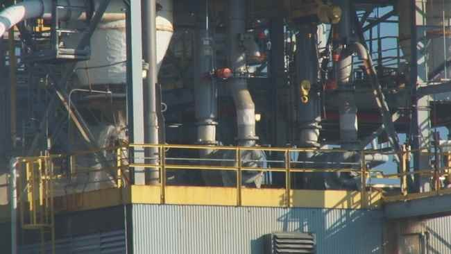 Leak (left side of photo) at the Clearon Corp. in South Charleston, WV.