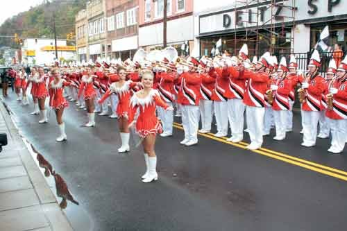 Richwood High School's band, the Lumberjack Express, performs in downtown Richwood as part of the Create West Virginia conference.