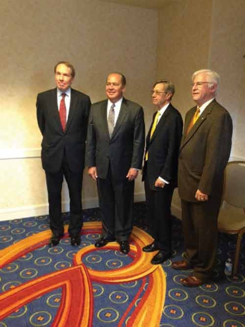 Gov. Earl Ray Tomblin is joined with Tom Heywood (left) and Earl F. Gohl (right) and Keith Burdette (far right) at the ARC meeting.