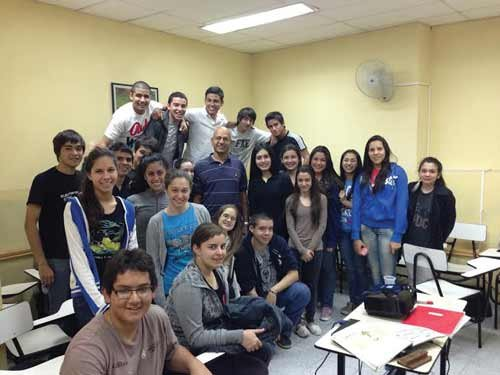 Photo courtesy of Gerard D'Souza. A group of local high school students learn English at a center established by the U.S. Embassy in Asuncion, Paraguay's capital.