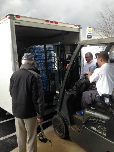 Three trucks of donated bottled water were delivered Jan. 11 in South Charleston