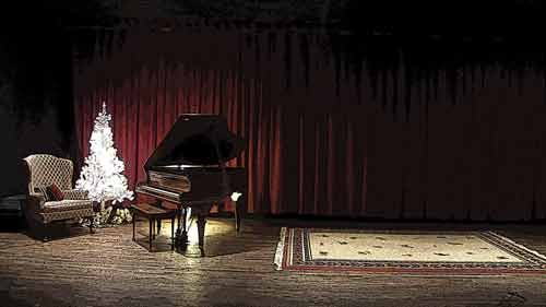 A 1907 Ivers and Pond grand piano sits on the theater's 18-by-36-foot stage. Vocalists Nick Fiasco and Donna Bailey will perform at the Gaslight in March and April.