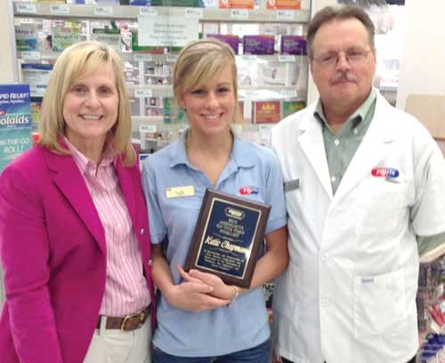 Photo courtesy of Fruth Pharmacy Lynne Fruth and Pharmacist Greg Sierer present Katie Chapman with the 2013 Associate of the Year Finalist award. Katie is employed at Store 26 in Ironton, Ohio.