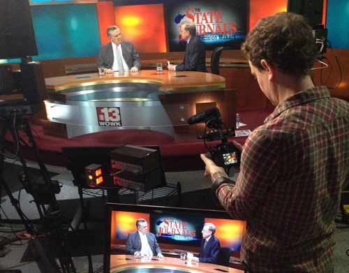 JIM WORKMAN / The State Journal. On Feb. 21, director Cullen Hoback and his documentary crew filmed two segments of The State Journal's Decision Makers.