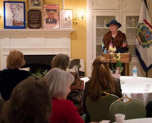 Photo courtesy of Mike Keller. Patty Cooper portrays Eleanor Roosevelt during a presentation for the History Alive! program.