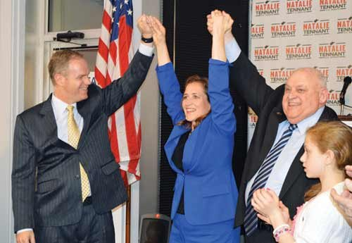 Secretary of State Natalie Tennant celebrates her Democratic nomination for the U.S. Senate seat in the 2014 Primary Election.