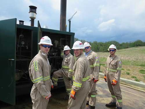 Photo courtesy of Miranda Kessel. Pierpont student-interns at Noble Energy get hands-on experience at a production site in West Virginia.