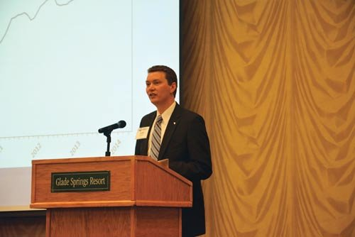 SARAH TINCHER / The State Journal: John Deskins speaks to the crowd at the Manufacturing Leadership Summit June 9.