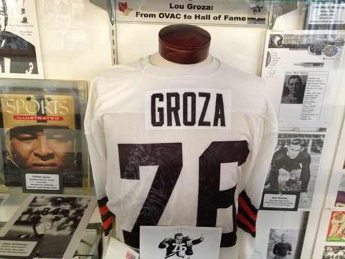 LINDA HARRIS / The State Journal. Lou Groza was an American football placekicker and offensive tackle for the Cleveland Browns. He was born in Martins Ferry, Ohio. The museum features a display box for each OVAC member school.
