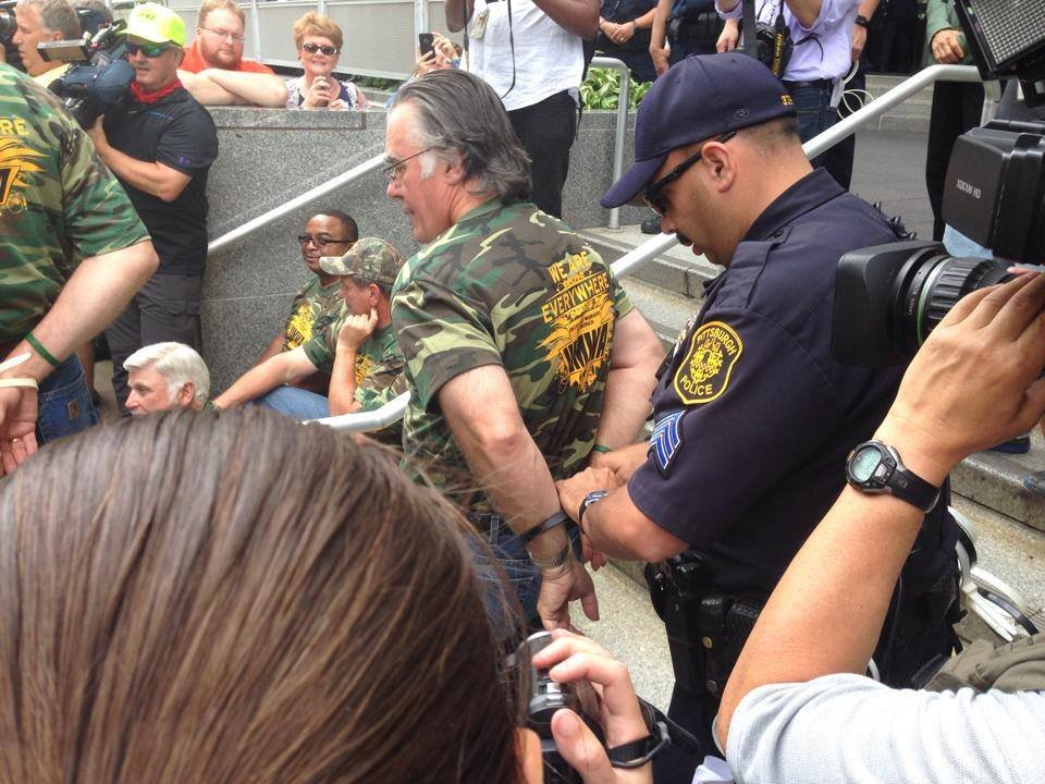 UMWA Secretary-Treasurer Daniel Kane was one of 14 arrested at the William S. Moorhead Federal Building in Pittsburgh.
