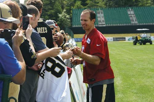 Saints quarterback Drew Brees is one of the most popular players among fans at the new training camp at The Greenbrier.